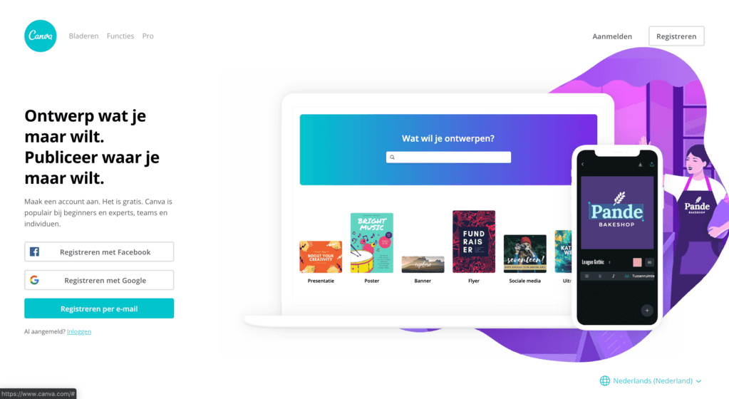 Gebruik Canva om snel designs te maken