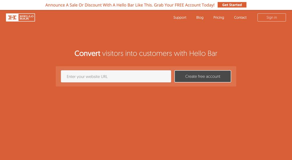 Hello Bar biedt heel wat Conversie Growth Hacking Tools aan.