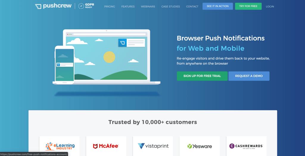 Stuur notificaties naar potentiële klanten via PushCrew