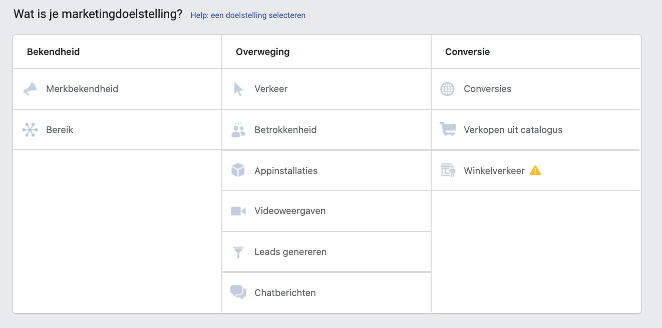 Doelstelling Facebook advertising