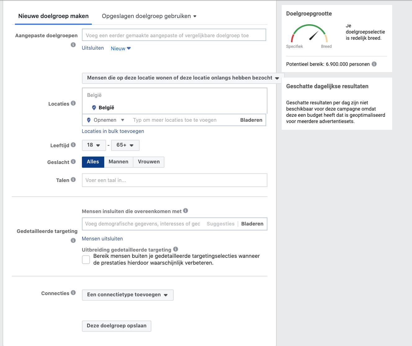 Facebook doelgroep samenstellen